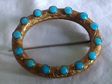 SUPER VICTORIAN MULTI TURQUOISE PINCHBECK  PIN/ BROOCH FAB ITEM