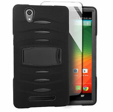 For ZTE ZMax Z970 Hard Phone Case Cover with Kickstand + Screen Protector Black