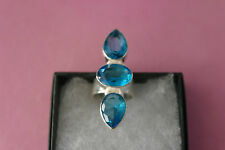 925 Silver Rings With Faceted Blue Topaz And Moonstone Gems Size L Gr.9.4 In Box