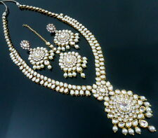 WHITE KUNDAN PEARL GOLD TONE NECKLACE SET BOLLYWOOD RANI HAAR BRIDAL JEWELRY