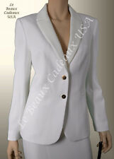 TAHARI Women OFF-WHITE IVORY Size 8 2PC Two-Piece Skirt Suit 2 BUTTON Knee $280
