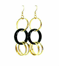 Black agate bead gold plated loop earrings EAR230004
