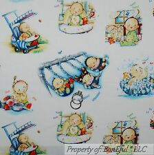 BonEful Fabric FQ Cotton Quilt Baby Shower Music Piano Swing Central Park Toile