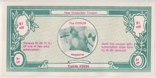 Banknote $1 Forum Magazine USA America new subscription coupon funny money