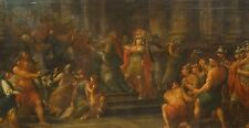 Huge Fine 17th Century Italian Old Master Roman Soldiers Sacrifice Oil Painting