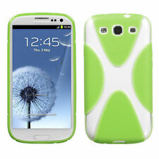 For Samsung Galaxy S III 3 S3 TPU X-Shape Flexi Gel Skin Case Cover Green Clear