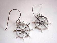 Boat Steering Wheel Earrings 925 Sterling Silver Dangle Corona Sun Jewelry sea