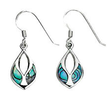 Sterling Silver Paua Shell Open Fancy Marquise Hook Wire Drops *BAS/E4341S