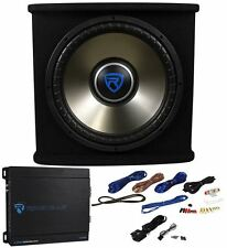 "Rockville RVSPL15.1 15"" 1500 Watt Car Subwoofer+Enclosure+Mono Amp+Wires Package"