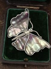 UNUSUAL LARGE ANTIQUE VINTAGE STERLING SILVER BUTTERFLY MOTH BROOCH /PIN