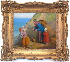 Family Coastal Landscape Antique Oil Painting by Henry H. Emmerson (1831-1895)