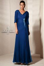 Alyce Jean De Lys 29591 V-Neck And Back 3/4 Sleeves Long Gown sz 14 NWT New