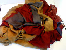 $250 NWT AUTHENTIC RODA UNISEX  BLUE/DARK SCARLET/BEIGE SCARF MADE IN ITALY