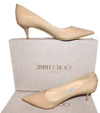 Jimmy Choo AZA Nude Patent Leather Pump Pointy Toe Low Kitten Heel SHoe 39.5