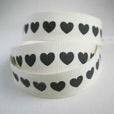 5 metres 16mm black hearts printed natural ecru cotton ribbon