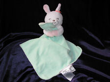 Carter's Baby Security Blanket Bunny Green White Pink Stripe Satin Rattle Orange