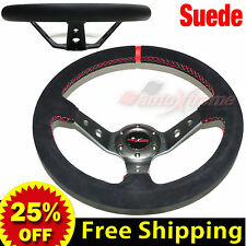"JDM 350mm 14"" SUEDE LEATHER DEEP DISH Racing Steering Wheel RED Stitch TITANIUM"