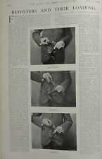 1903 BOER WAR ERA PRINT ~ REVOLVERS & THEIR LOADING ~ HOLDER LOADING CHARGED