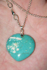 "HEART NECKLACE BLUE TIBET TURQUOISE Stone 21"" Sturdy Silver Plated Chain NEW!"