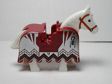 LEGOS - One NEW White Horse with Dark Red Horse Barding Vladek Scorpion Pattern