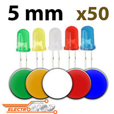 50x LED 5mm DIFUSO varios colores rojo blanco amarillo verde azul kit