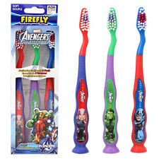 3pk Avengers Child Soft Toothbrushes Suction Cup Bottom & Tongue Cleaner Firefly