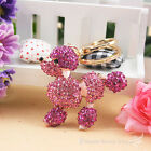Fashion Cute Dog Poodle Crystal Keychain Keyring Handbag Accessory Charm Pendant