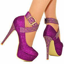 WOMENS SPARKLY DIAMANTE PLATFORM HIGH HEELS ANKLE STRAPS PUMPS SHOES SIZES 3-8