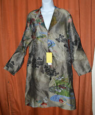 NEW $250 Citron Santa Monica Japanese Leaf Floral Blouse Kimono Tunic Dress XL