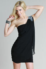 Nikibiki Black One Shoulder Draped Jeweled Dress Size Small or Medium