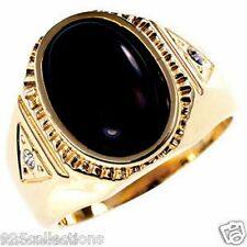 14 X 10 mm Oval Cut Black Gold Plated Semi-Precious Tiger Eye Men's Ring Size 9