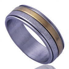 B1236 Authentic Men's Band Ring Yellow GF Stainless Stee Size10#