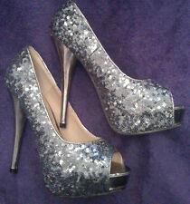 NEW Sz4 Dark Silver Sequin Covered Peep Toe Mirror Heel Shoes Hidden platform