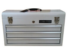 214 US Pro Tools Single Steel Storage Tool Box Chest  Cabinet 3 DRAWER WHITE