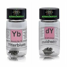 1 gram 99,95% Ytterbium metal element 70 Yb sample in glass vial + colored label