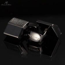 KS Vintage Square Shirt Cuff Links Men's Luxury Black Jewel Cufflinks + Gift Box