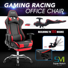 Racing Game Chair Executive Office Desk Seat Computer w/ Footrest PU Leather RED