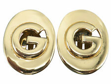 Givenchy Vintage Clip Earrings Shiny Gold Logo Modernist Designer Jewelry 502g