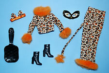 Tan, Black, Orange Cheetah Costume Skirt Outfit BARBIE w/ Boots, Ears Head Band
