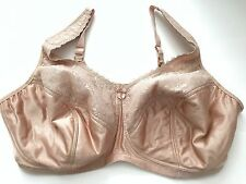 Glamorise Bra 48F Plus Size Wire Free Lined Nude Lace Supportive Full Coverage