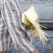 ZARA WOMAN Yellow Fringed LEATHER Messenger Bag with Chain Strap BNWT BLOGGERS !