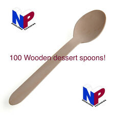 100x Disposable wooden dessert spoons! Eco cutlery, tableware, catering, utensil