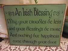 AN IRISH BLESSING  primitive wood sign
