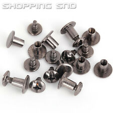 100 X Black Round Flat Spike Metal Studs Rivets Screwback Spots Cone Leather DIY