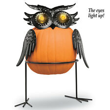 Unique Black Metal Owl Halloween Pumpkin Holder w/ Lighted EYES!