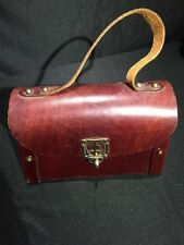 Rare Classic Etienne Aigner Lunch Box Style Purse Red Leather Handmade Handbag