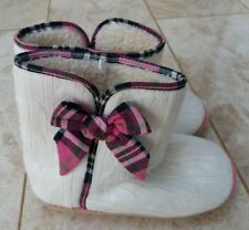 George Ladies Size Large L 7 8 Slipper Boots Winter White Pink  Autumn Knit Wear