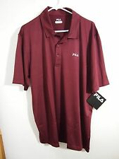 NWT Fila Mens Solid Burgundy Red Short Sleeve Golf Polo Shirt Polyester XL
