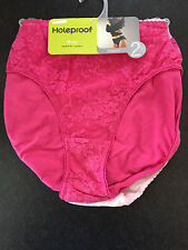 BNWT Womens Sz 10-12 Holeproof Pack of 2 Pink Hi Cut Style Lace Front Briefs