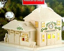 Lenox Christmas Holiday Village Train Station LIGHTED -  NEW IN BOX!!